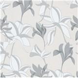 Vliesové tapety na zeď IMPOL Luna velké lesklé květy šedo-stříbrné
