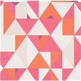 Vliesové tapety na zeď IMPOL Novara 3 geometrický vzor oranžovo-růžový