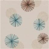 Vliesové tapety na zeď Novara 3 moderní kruhy modré, hnědé a krémové s lesklými efekty