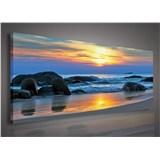 Obraz na plátně západ slunce nad mořem 145 x 45 cm