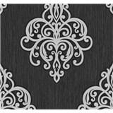 Vliesové tapety na zeď Opal ornament světle šedý na černém podkladu