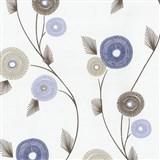 Vliesové tapety na zeď Patchwork - květy modro-hnědé - SLEVA
