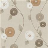 Vliesové tapety na zeď Patchwork - květy okrovo-hnědé - SLEVA