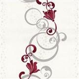 Vliesové tapety na zeď Pure and Easy květy červené se stříbrným ornamentem