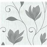 Vliesové tapety na zeď Collection květy šedé se stříbrnými třpytkami na bílém podkladu