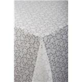 Ubrus metráž transparentní růžičky bílé
