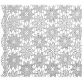Běhoun na stůl š.50cm květinky stříbrné