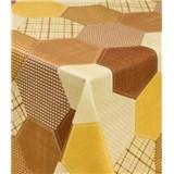 Ubrusy návin 20 m x 140 cm geometrický vzor hnědo-žlutý