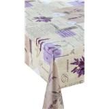 Ubrusy návin 20 m x 140 cm Provence levandule se srdíčky