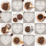 Ubrus metráž kávová zrnka s krajkovými srdíčky