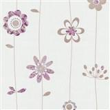 Papírové tapety na zeď X-treme Colors - kytičky fialovo-hnědé
