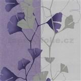 Vliesové tapety na zeď 4ever - listy Ginkgo světle fialovo-stříbrné - SLEVA