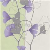 Vliesov� tapety na ze� 4ever - listy Ginkgo fialovo-zelen� - SLEVA