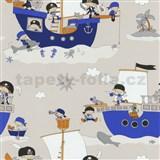 Papírové tapety na zeď Dieter Bohlen 4 Kidz piráti na modré lodi