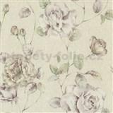 Tapety na zeď Antique - růže fialovo-růžové na světle růžovém podkladu - SLEVA