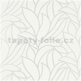 Vliesové tapety na zeď Bali listy bílé na stříbrném podkladu