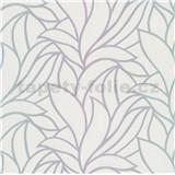 Vliesové tapety na zeď Bali listy zeleno-fialové na bílém podkladu