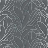 Vliesové tapety na zeď Bali listy šedo-černé