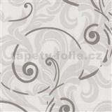 Tapety na zeď Baroque - barokní vzor bílo-šedý - SLEVA