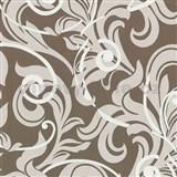 Tapety na zeď Baroque - barokní vzor hnědo-bílý
