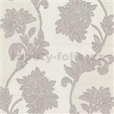 Tapety na ze� Baroque - kv�ty se strukturou textilu fialovo-b�ov�