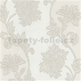 Tapety na zeď Baroque - květy se strukturou textilu bílo-hnědé