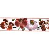 Samolepící bordura květy orchideje červené 5 m x 8,3 cm