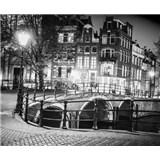 Luxusní vliesové fototapety Amsterdam - černobílé, rozměr 325,5 x 270cm