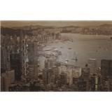 Luxusní vliesové fototapety Hong Kong - sépie, rozměr 418,5 cm x 270 cm