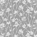 Tapety na zeď Dieter Bohlen - květy bíle s šedým žíháním - SLEVA
