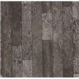 Vliesové tapety na zeď Einfach Schoner 3 dřevěné desky černo-šedé s černými ornamenty