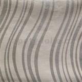 Vliesové tapety na zeď Einfach Schoner 3 vlnovky stříbrné na bílém podkladu
