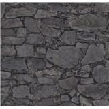 Vliesové tapety na zeď Einfach Schoner 3 kámen skládaný šedo-černý