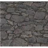 Vliesové tapety na zeď Einfach Schoner 3 kámen skládaný fialovo-černý