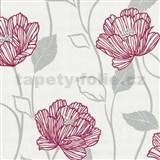Vliesové tapety Fresh Start červené stylizované květy - SLEVA