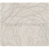 Luxusní vliesové tapety na zeď Merino ornamenty béžové na metalickém světle šedém podkladu