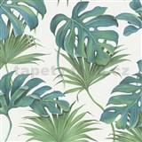 Vliesové tapety na zeď New Spirit palmové listy a monstera modro-zelené na bílém podkladu
