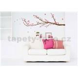 Samolepky na stěnu strom s růžovými květy