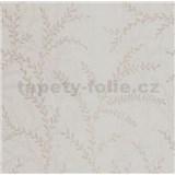Vliesové tapety na zeď Seasons lístky béžové na bílém podkladu