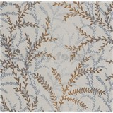 Vliesové tapety na zeď Seasons lístky modro-hnědé na krémovém podkladu