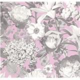 Vliesové tapety na zeď Seasons květy šedé na růžovém podkladu