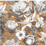 Vliesové tapety na zeď Seasons květy šedé na hnědém podkladu - POSLEDNÍ 1 KS