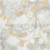Vliesové tapety na zeď Seasons květy šedé na béžovém podkladu