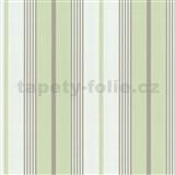 Tapety papírové - zeleno-bílé pruhy
