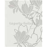 Vliesové tapety na zeď Summer Time květy šedo-stříbrné na bílémm podkladu