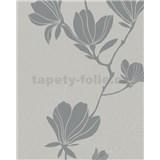 Vliesové tapety na zeď Summer Time květy šedo-stříbrné