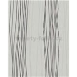Vliesové tapety na zeď Summer Time proužky tmavé šedo-bílé