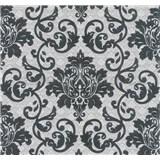 Vliesové tapety na zeď Florence zámecký vzor černý na stříbrno-bílém podkladu