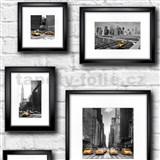 Papírové tapety New York obrazy na bílé cihlové stěně