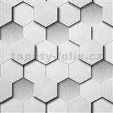 Vliesové tapety Kinetic 3D plástev šedá